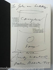 Andy Warhol - Soup Can drawing in book - Signed and dedicated.