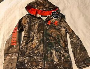 NWT Under Armour Boys Kids Size M Hoodie Realtree Fleece Zip Jacket Camo