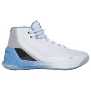 UNDER ARMOUR UA Kids Boys Curry 3 Basketball Shoes Sneakers Opal Blue White