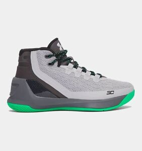 UNDER ARMOUR UA Kids Boys Curry 3 Basketball Shoes Sneakers Rhino Gray Green
