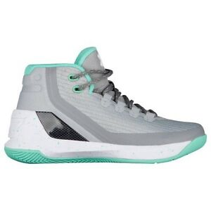 UNDER ARMOUR UA Kids Girls Boys Curry 3 Basketball Shoes Sneakers Grey Green