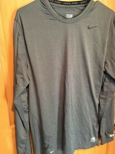 Men's Nike Pro Fitted Dry Fit Long Sleeve Shirt Gray Size L