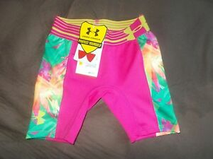 Under Armour Heat Gear Girls Stretch Athletic Fitted Shorts Pink Print XS XSmall