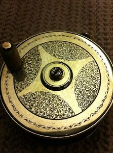 Antique Hand Engraved Brass Fly Fishing Reel