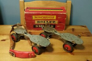 1925 Patent Original Pair of Winchester Roller Skates No 3831 with Box New Haven