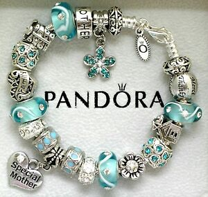 Authentic Pandora Charm Bracelet Mom Family Blue Aqua European Charms Gift 8.3
