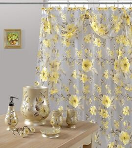 Melarosa Yellow High Quality Scarf Sheer Shower Curtain Made 100% polyester.