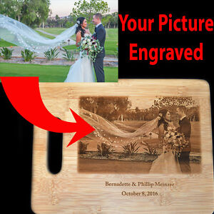 Photo Gift engraved on Bamboo Cutting Board, ideal for wedding gift, anniversary