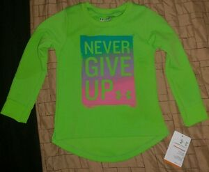 UNDER ARMOUR THERMAL STAY DRY FITNESS GREEN NEVER GIVE UP SHIRT GIRL'S SIZE 24M