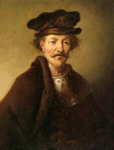 Stunning Oil painting ancient male portrait A veteran with hat no framed canvas $69.99