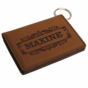 Custom Engraved Leather Keychain Wallet Personalized ID Holder License Holder