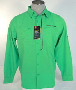 Men's Under Armour Green Armour Vent Button Front Long Sleeve Fishing Shirt
