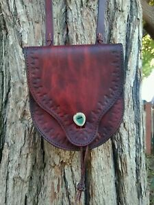 Leather Handcrafted Possibles bagHand tooled with Stabilized deer antler button
