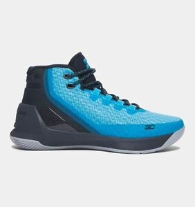 UNDER ARMOUR UA Kids Boys Curry 3 Basketball Shoes Sneakers Island Blues