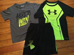 Boys Kids Under Armour Black Shorts Lime Shirt Summer Outfit Size 4