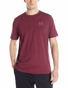 Under Armour Mens Charged Cotton Sportstyle T-Shirt Dark MaroonSteel Large