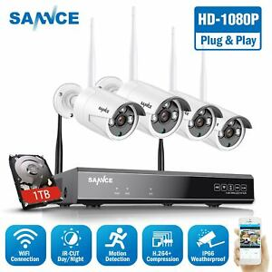 SANNCE Wireless 4CH 1080P NVR Video IP Security Camera System Night Vision 1TB