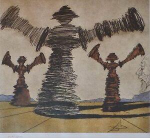 SALVADOR DALI DON QUIXOTE MAN OF LA MANCHA SPINNING MAN SIGNED HAND NUMB ETCHING $245.00