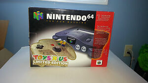 nintendo 64 console toys r' us special edition gold complete in box
