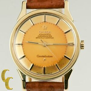 Omega Men's Pie-Pan Constellation Gold Cap Caliber 551 Automatic Watch Patina