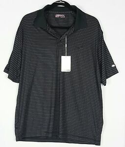 NIKE GOLF FIT DRY MENS BLACK  PINK PINSTRIPED SS POLO SHIRT SZ XXL 2XL - NWT