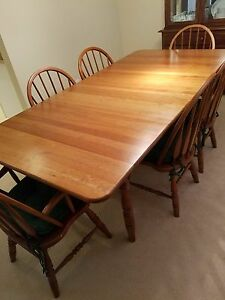Amish Made Solid Cherry Dining Table 6 Chairs Custom Table Pad Leaf Pad Cab.