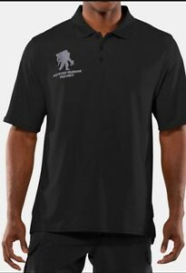 Men's Under Armour Polo Golf Shirt Black Wounded Warrior Project 3XL Loose Fit