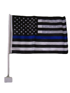 12x18 USA Police Thin Blue Line Double Sided Car Window Vehicle 12