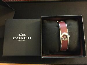 COACH Womens Scout Stainless Steel & Burgundy Leather Bangle Bracelet Watch 26mm