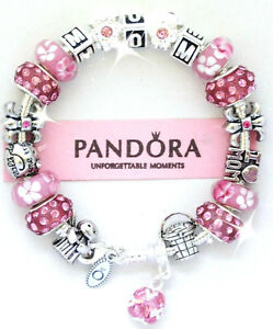 Authentic Pandora Silver Bracelet MOM Pink Angel Crystal European Charms Box
