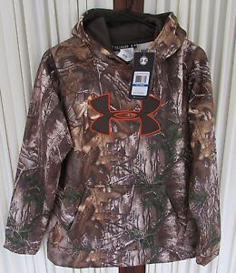 Under Armour Boys Fleece Camo Hoodie Realtree Big Logo Brown XL NWT