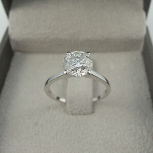 EXCLUSIVE DESIGN 3.00 CT D SI1 ROUND CUT DIAMOND SOLITAIRE RING 14 K WHITE GOLD