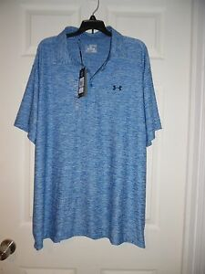 NWT Men's Size 2XL Loose Fit Under Armour Golf Polo Shirt Heatgear $64.99 Blue