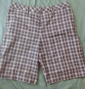 Ashworth Golf Flat Front Casual Walking Shorts Men's Size 34 Black with White