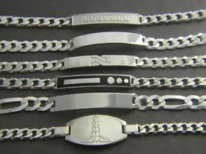 Solid 925 Sterling Silver Mens ID Bracelet **Many Designs to Choose**all sizes