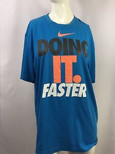 Nike Men's Shirt Blue Running Athletic Workout Dri-Fit Size Large