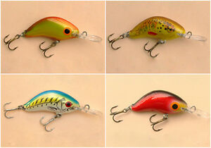 Lot of 4 Ugly Duckling Fishing Lures Small Sinking Crankbait