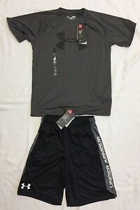 Boys Under Armour Shirt And Shorts in Grey And Black Sz YLYM *NWT*