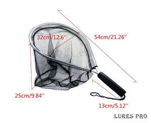 Fly Fishing Landing Handle Net Nomad Rubber Fish Nylon Mesh Trout Bag Tackle $9.99