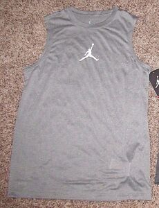 JORDAN JUMPMAN BOYS DRI-FIT SLEEVELESS SHIRT S M L XL GRAY