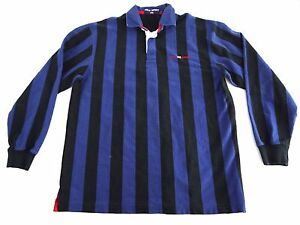 VINTAGE 90s POLO SPORT Ralph Lauren mens striped rugby polo shirt L USA spellout