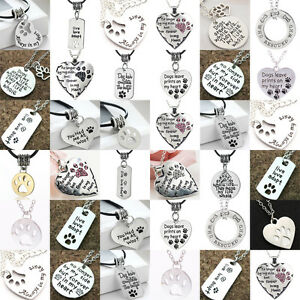 Paws Necklace Love Heart Dog Tag Beads Charm Chain Pet Rescue Pendants Women Men