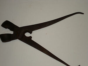 Antique Blacksmith Hand Forged Bullet Musket Ball Mold Iron Tool wNipper