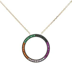Turkish Handmade CZ Color Circle Pendant Sterling Silver Necklace
