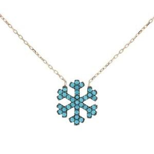 Turkish Handmade Snowflake CZ Pendant Sterling Silver Necklace