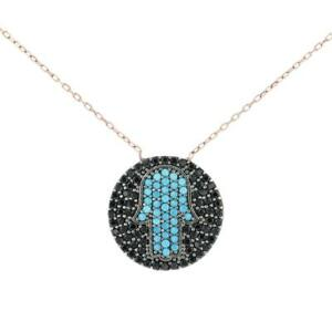Turkish Handmade Hamsa Hand CZ Pendant Sterling Silver Necklace