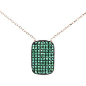 Turkish Handmade Vertical Tab CZ Pendant Sterling Silver Necklace