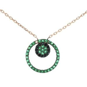Turkish Handmade Flower Loop CZ Pendant Sterling Silver Necklace