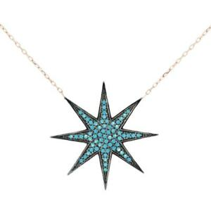 Turkish Handmade Bang Star CZ Pendant Sterling Silver Necklace