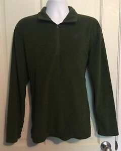 THE NORTH FACE MENS GREEN QUARTER ZIP PULLOVER FLEECE JACKET Large
